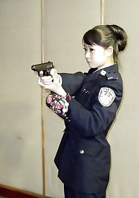 Cute chinese policewoman girl